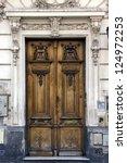 A Brown Wood Old Door In The...
