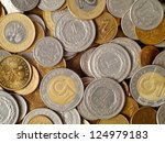 Polish coins, can be used as a background - stock photo
