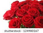 Stock photo close up of a beautiful bouquet of red roses 124980167