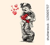 clown   vintage hand drawn... | Shutterstock .eps vector #125005757