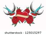 heart tattoo emblem | Shutterstock .eps vector #125015297