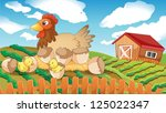 illustration of a hen and... | Shutterstock .eps vector #125022347