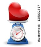 heart sign on scale pan.... | Shutterstock .eps vector #125032517