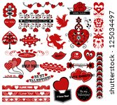 set of vintage valentine s day... | Shutterstock .eps vector #125034497