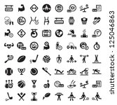 64 Fitness and Sport vector icons for web and mobile. All elements are grouped.