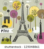 Paris France art print - stock vector