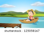 illustration of a boy rowing a... | Shutterstock . vector #125058167