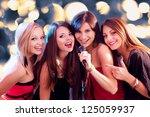 four beautiful stylish girls... | Shutterstock . vector #125059937