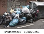 a lot of garbage in the street...   Shutterstock . vector #125092253