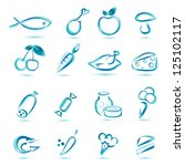 all kinds food icons, big collection of market food icons - stock vector
