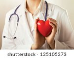 female doctor with stethoscope... | Shutterstock . vector #125105273