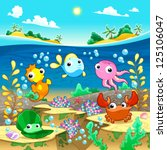 Happy marine family under the sea. Vector and cartoon illustration - stock vector