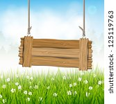 spring landscape with wooden... | Shutterstock .eps vector #125119763