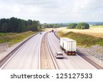 Cars on a highway frow Sweden to Norway - stock photo