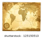 vintage travel manuscript with... | Shutterstock .eps vector #125150513
