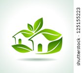 green home icon on white... | Shutterstock .eps vector #125155223