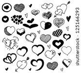 doodled hearts | Shutterstock .eps vector #125166293