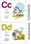 abc with animals. c d. cow  ... | Shutterstock .eps vector #125169443