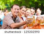 in beer garden   friends in... | Shutterstock . vector #125202593