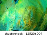 abstract green painting by oil on a canvas,  illustration,  background - stock photo