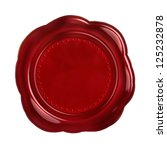 Red seal wax - isolated on white background - stock photo