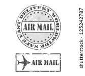 a set of air mail stamps in... | Shutterstock .eps vector #125242787