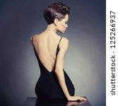 fashion photo of beautiful lady ... | Shutterstock . vector #125266937