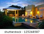 caribbean villa at night  ...   Shutterstock . vector #125268587