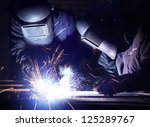 welders team and bright sparks. ... | Shutterstock . vector #125289767