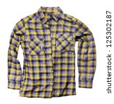 plaid shirt isolated on white - stock photo