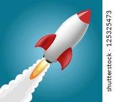 rocket space ship  on blue... | Shutterstock .eps vector #125325473