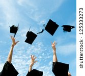 graduates throwing graduation... | Shutterstock . vector #125333273