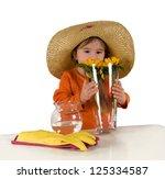 one little girl wearing big hat ... | Shutterstock . vector #125334587
