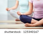 Stock photo young people do yoga indoors 125340167