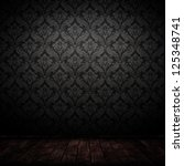 dark interior room with baroque wallpaper. - stock photo