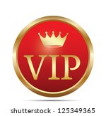 Golden VIP button. Vector - stock vector