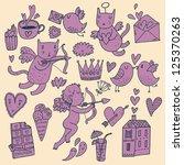 romantic vector set in vintage... | Shutterstock .eps vector #125370263