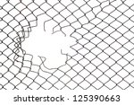 Hole In The Wire Mesh Fence At...