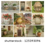 collage with old style garden pottery, images from Tuscany, Italy, Europe - stock photo