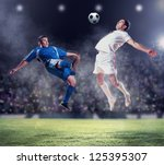 two football players in jump to ...   Shutterstock . vector #125395307