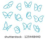 Butterflies silhouettes for symbols, icons and tattoos design, such as idea. Jpeg version also available in gallery - stock vector