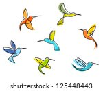 abstract colorful hummingbirds... | Shutterstock .eps vector #125448443