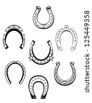Set of horseshoe icons and symbols for lucky concept design, such as idea of logo. Jpeg version also available in gallery - stock vector
