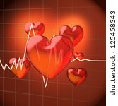 hearts with frequency diagram | Shutterstock . vector #125458343