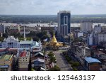 aerial view of Sule pagoda in Yangon, Myanmar - stock photo