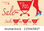 shopping cart with sale. vector ... | Shutterstock .eps vector #125465837