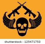 tattoo skull and gun vector art