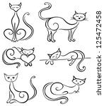 Set cats on a white background - stock vector