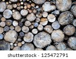 wooden trunks for the chimney - stock photo