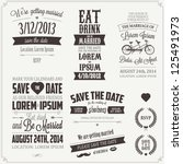 Set of wedding invitation vintage typographic design elements